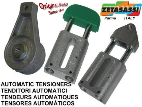 Automatic chain and belt tensioners